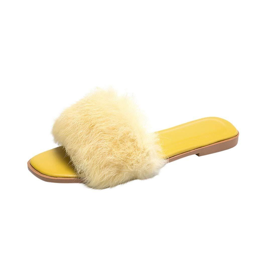 KAIXLION Women Short Plush Shoes Open Toe Home Slippers Indoor Outdoor Flip Flops Flats Sandals Yellow by KAIXLION Shoes