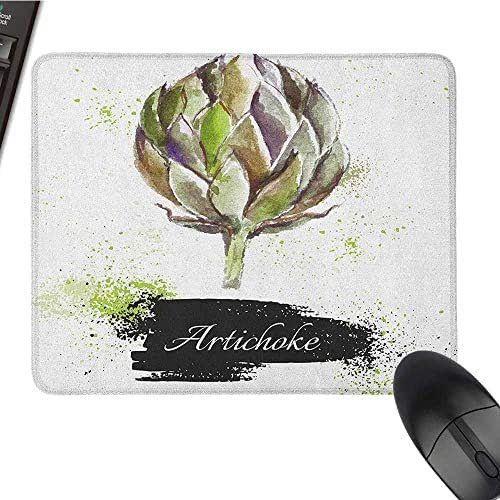 Waterproof Mice Pad Artichoke,Hand Drawn Delicious Fresh Vegetable Healthy Menu Good Eats Super Food, Fern Green and Black pad for Mouse 15.7 x23.6 INCH