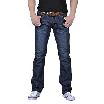 Pantalones vaqueros rectos para hombre, ajustados a la ...