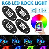 Directtyteam RGB LED Rock Lights Bluetooth Control, 12V 20W Multicolor Neon LED Light Kits IP68 Waterproof Timing Function Music Mode For JEEP Off Road Truck Car ATV SUV Motorcycle( 4 Pairs )