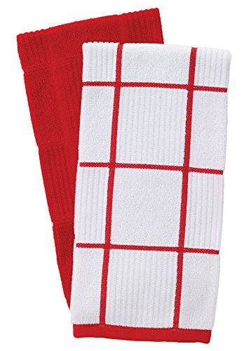 T-Fal Textiles Woven Solid & Checked Parquet Design, Highly Absorbent 100% Cotton Kitchen Dish Towel, 16-inch by 26-inch, Set of 2, Red