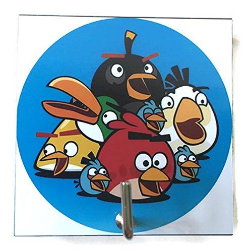 Agility Bathroom Wall Hanger Hat Bag Key Adhesive Wood Hook Vintage Angry Birds's Photo