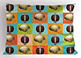 Ambesonne Football Pillow Sham, Colorful Squares Mosaic Pattern of Protective Equipment and Balls College Activity, Decorative Standard Size Printed Pillowcase, 26 X 20 inches, Multicolor