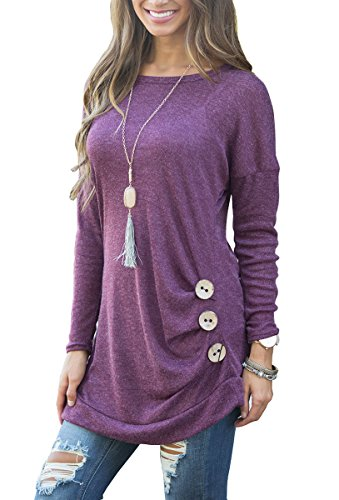 - Women's Long Sleeve Tunic Pullover Sweatshirts Purple M