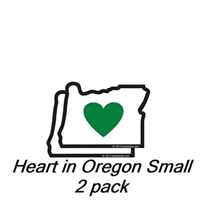 Heart in Oregon Sticker - Small 2 Pack | 2.5 Inch OR State Shaped Label | Apply to Mug Phone Laptop Water Bottle Decal Cooler Bumper | Green Heart Oregon Portland Blazers Timbers Ducks Beavers Stag: Automotive