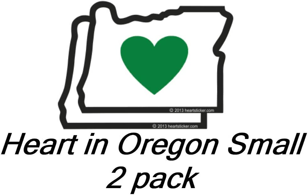 Green Heart Oregon Portland Blazers Timbers Ducks Beavers Stag Small 2 Pack 2.5 Inch OR State Shaped Label Apply to Mug Phone Laptop Water Bottle Decal Cooler Bumper Heart in Oregon Sticker