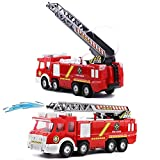 toy fire trucks for boys - Netcosy Electric Fire Truck toy, Fire Engine Rescue Veiche with Lights Sirens Extending Ladder and Water Pump Hose to Shoot Water, Bump and Go Action