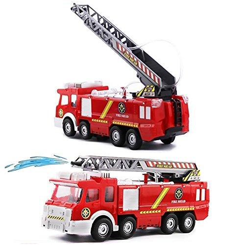 Netcosy Electric Fire Truck toy, Fire Engine Rescue Veiche with Lights Sirens Extending Ladder and Water Pump Hose to Shoot Water, Bump and Go Action