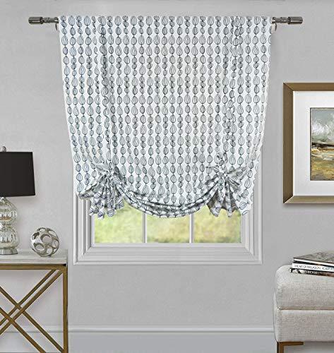 (Tiny Break Room Darkening Tie up Window Curtains for Bedroom Living Room Kitchen Tie up Adjustable Shade Rod Pocket - Beeds Pattern 42 x 63 Inches)