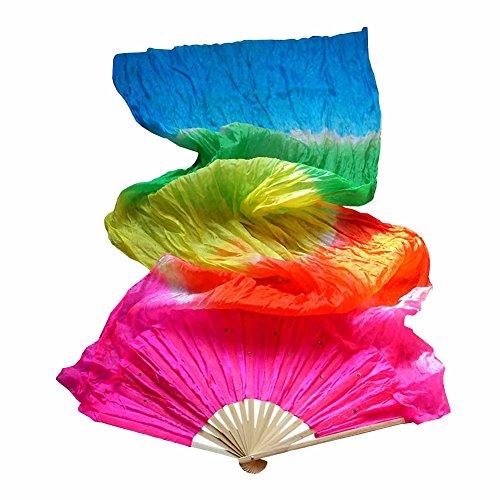 - abbort New Elegant Imitated Silk Fabric Horizontal Stripes Gradient Long Dance Fans