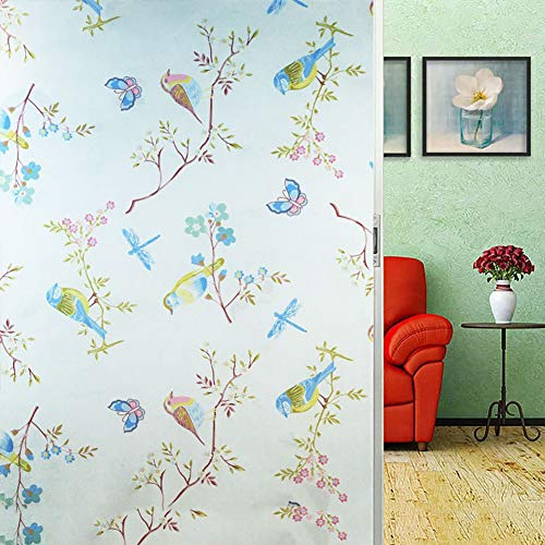XXRBB Frosted Window Film Stained Glass Static Cling,Bird Pattern Privacy Window Stickers,for Home Bathroom Office,90x600cm(35x236inch)