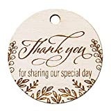 Summer-Ray 50pcs Laser Engraved Wooden Mini Wedding Favor Gift Tags Thank You for Sharing Our Special Day (White)
