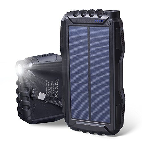 (25000mAh Portable Solar Power Bank Dual USB Output Battery Bank with Strong LED Light, Elzle Outdoor Solar Charger Phone External Battery Shockproof Dustproof for iPhone Series, Smart Phone,)