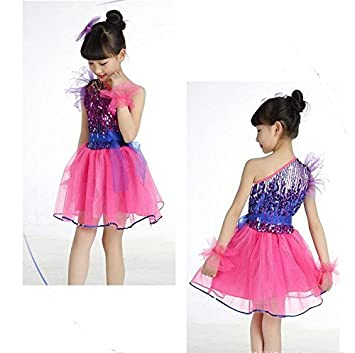 XIAOJUAN QXJ Trajes de Danza Jazz Danza Moderna para niños niñas de  Lentejuelas Vestido a niño Realizar Vestido de Baile Vestido tutú 31dc92118ac