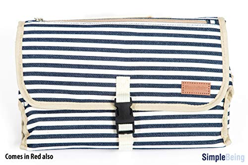(Simple Being Portable Baby Bathroom Changing Pad Cushioned Table Mat Cover Waterproof Memory Foam Baby Head Pillow Foldable Pockets for Diapers Wipes and Creams Pacifiers, Diaper Bag (Navy Stripe))