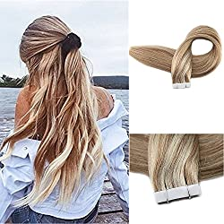 """Fshine 18"""" Glue in Straight Hair Extensions 100 Remy Human Hair 18 inch Color #10 and #613 Blonde Extensions Highlighted Tape Extensions Remy Invisible Tape Hair 20 Pcs 50gram"""
