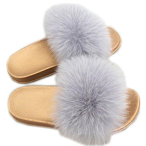 for Real Summer Girls Fur Soft Slides Fashion Flat Fox Women Slippers Shoes Grey qmfur Glod 57qSn