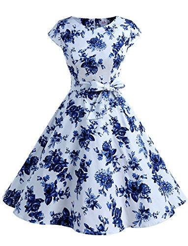 - Dressystar Women Vintage 1950s Retro Rockabilly Prom Dresses Cap-Sleeve XXL Blue White