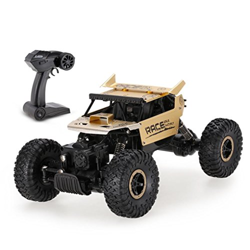 WARMSHOP Boys Flytech 9118 1:18 RC Car 2.4G 4WD Alloy Metal Body Track Car (Gold)