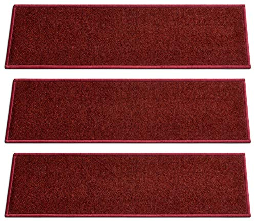 ([Set of 7] Burgundy Solid Color Stair Tread Rugs   Modern Design Carpet Treads [Easy to Clean] Rubber Non-Slip Non-Skid Backing   Nylon Low Pile 9