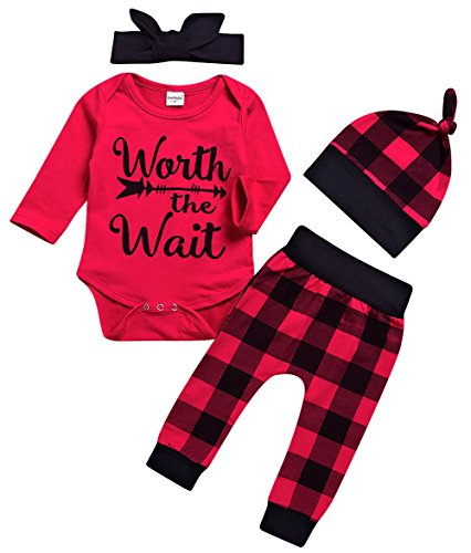 Younger star Newborn Baby Boys Girls Long Sleeve Bodysuit and Plaid Pants Leggings Hat 4pcs Christmas Outfits Set (0-6 Months, (Red Outfit)