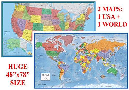 48x78 World and USA Classic Elite Huge Two Wall Map Set - Laminated (Wall Maps Usa And World)