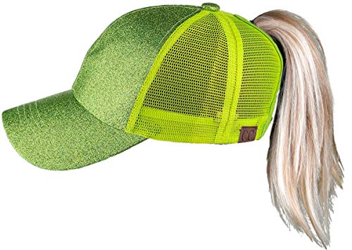 - H-209-5587 Messy Bun Ponytail Hat - Glitter (Lemon Lime)