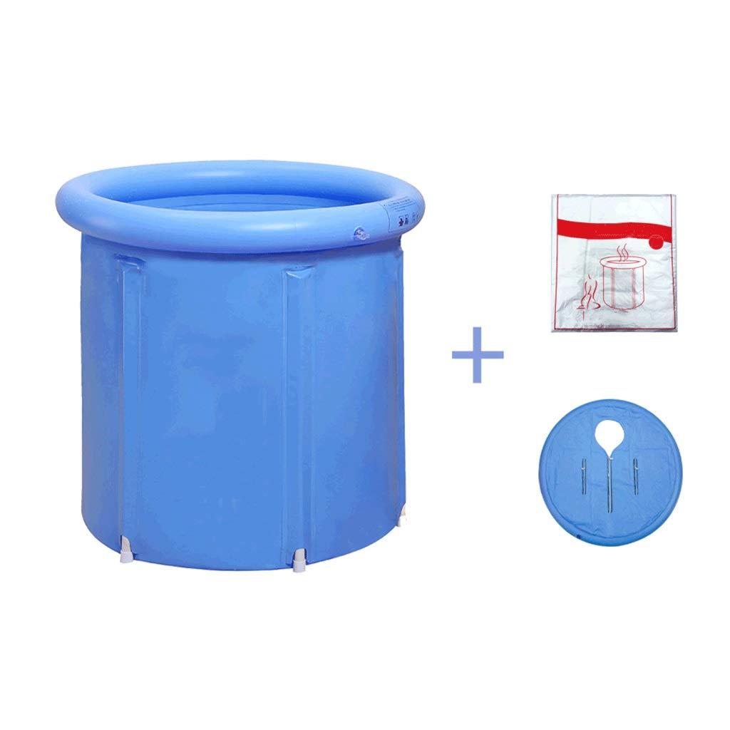 6570cm Folding bathtub Folding Bathtub With Thermal Cover, Portable Bathtub, Plastic Bathtub, Spa Bath, Jacuzzi With Disposable Bath Bag (bluee, 3 Size) (Size   75  75cm)