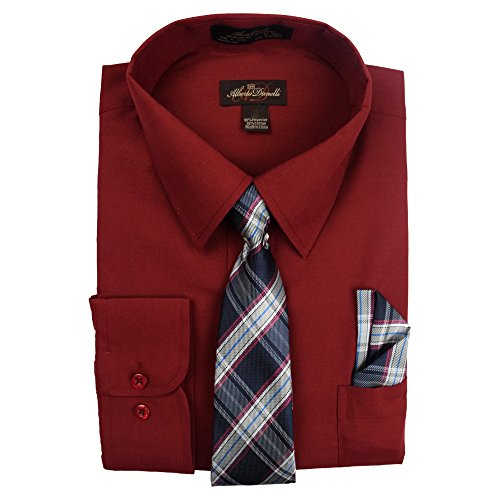 Alberto Danelli Men's Slim Fit Long Sleeve Dress Shirt Set with Matching Tie and Handkerchie Set, Wine, Large 16 34/35