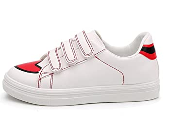 Canvas Shoes for Women,Platform Lace up Casual Comfort White Fashion Sneakers(Red 35/4.5 B(M) US Women)