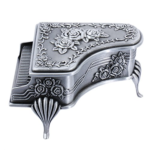 (Prettyia Vintage Jewelry Box Mini Music Piano Trinket Jewelry Storage Box for Rings Earrings Necklace Treasure Chest Organizer)