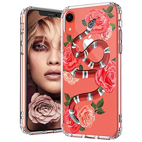 Snake Design - MOSNOVO iPhone XR Case, Clear iPhone XR Case, Fashion Snake with Roses Pattern Clear Design Transparent Plastic Hard Back Case with Soft TPU Bumper Protective Case Cover for Apple iPhone XR
