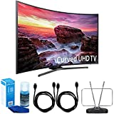 Samsung UN55MU6490FXZA Curved 54.6'' LED 4K UHD Smart TV (2017 Model) Bundle with TV, 6ft High Speed HDMI Cable x 2, HDTV and FM Antenna, and Universal Screen Cleaner