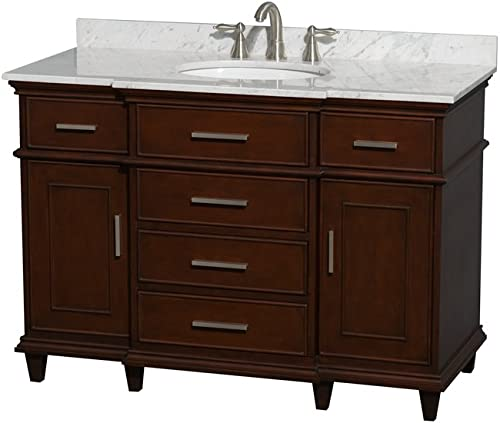 Wyndham Collection Berkeley 48 inch Single Bathroom Vanity in Dark Chestnut with White Carrara Marble Top with White Undermount Oval Sink and No Mirror