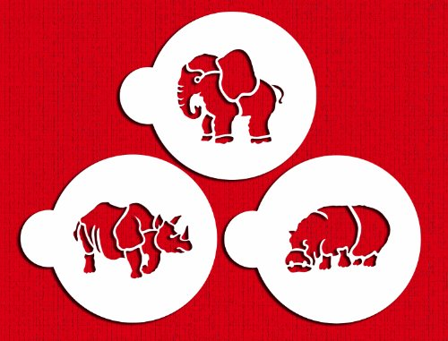 Designer Stencils C829 Safari Animals Cookie Set, (Rhinoceros, Hippopotamus and Elephant) Beige/semi-transparent by Designer Stencils