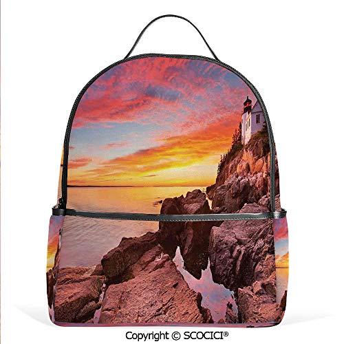 Pottery Lighthouse - Lightweight Chic Bookbag Lighthouse on the Harbor Sea Shore with Horizon Sky New England Design,Multi,Satchel Travel Bag Daypack
