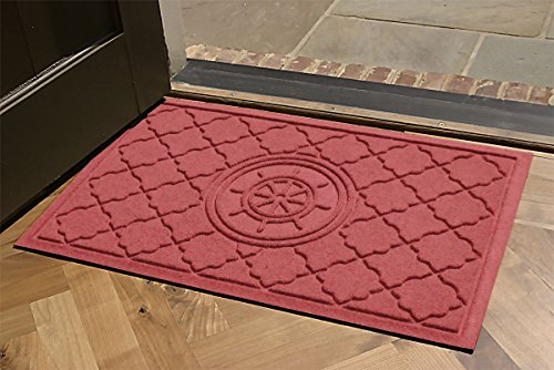 Aqua Shield Bombay Ship's Wheel Mat, 2 by 3-Inch, Solid Red