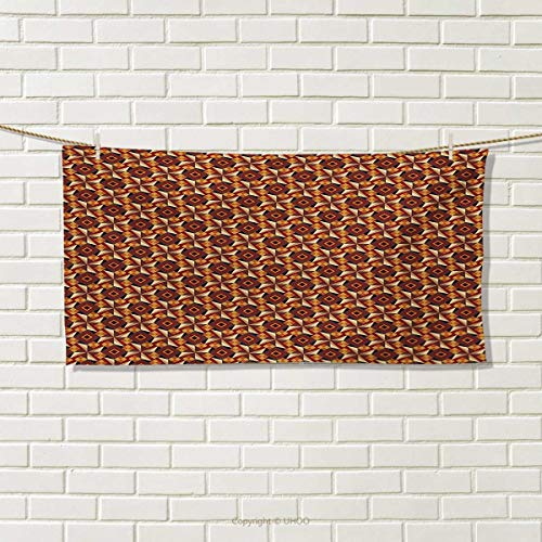 Pattern Sherry Kline (Modern,Travel Towel,Retro 58s 70s Vintage Geometrical Rounds Triangles Pattern Art Image,Quick-Dry Towels,Dark Orange Taupe Brgundy Size: W 14