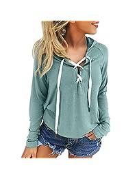 Susenstone Hoodie Sweatshirt Lace Up Long Sleeve Crop Coat Sports Pullover Tops