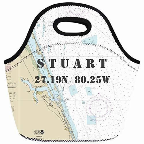 Ahawoso Reusable Insulated Lunch Tote Bag Stuart Florida Nautical Chart Latitude Longitude Zippered 10X11 Neoprene School Picnic Gourmet Lunchbox