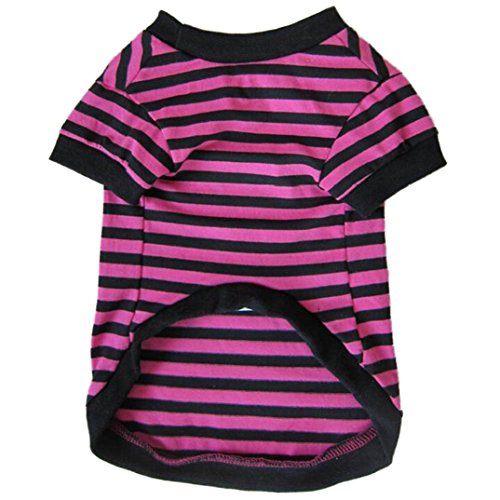 Binmer(TM)Dog Clothes Pet Dog Classic Wide Stripes T-shirt Doggy Clothes Cotton Shirts (Rose, L) (Doggy Clothes)