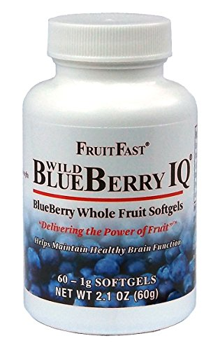 (Wild Blueberry IQ by FruitFast | 60 Count - NON-GMO - Gluten Free - Paste Filled Chewable Softgel)