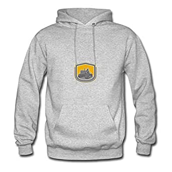 Farmer Driving Tractor Plowing Farm Shield Retro Cool X-large Hoodies Designed For Women Grey