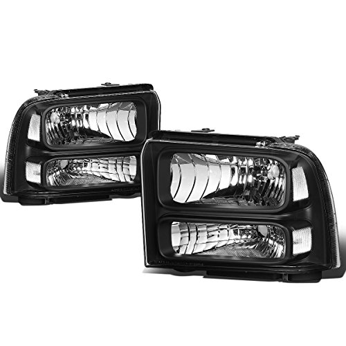 For Ford Super Duty 1st Gen F250-550 Pair Black Housing OE Style Headlight Lamp