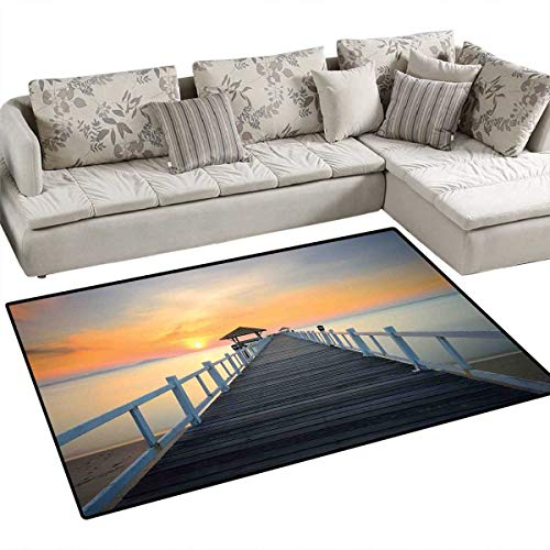 (Nautical Bath Mats for Floors Long Exposure Deck Path by The Sea Shorline with Horizon Sunset Landscape Door Mat Indoors Bathroom Mats Non Slip 48