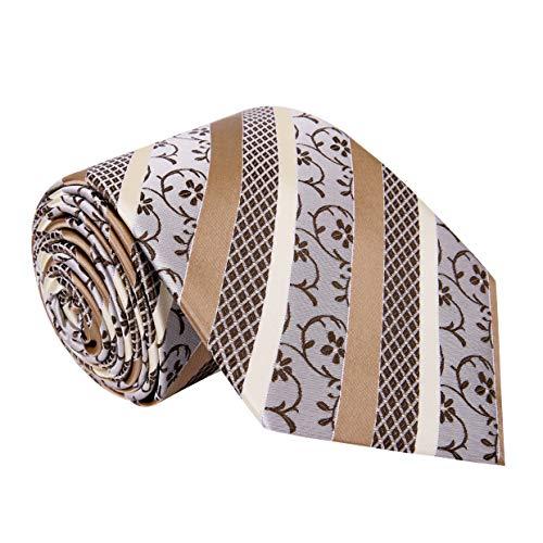 Twenty Dollar Tie Men's Statement Tie Pocket Square Cuff-links Set (Tan/White/Cream)