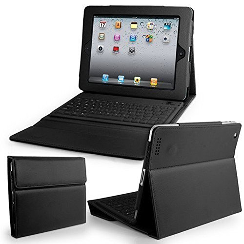 Flylinktech Bluetooth Wireless Keyboard with Leather Case Stand Cover iPad 1 2nd 3rd Generation ( Black ) (Air 2 Ipad Shark Keyboard)