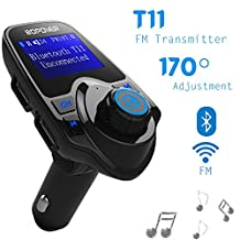 [Upgraded Version] FM Transmitter, Globmall 2017 Model Bopower T11 Bluetooth FM Transmitter, Hands-free Calling, USB Car Charger, Car Radio Kit with 4 Music Play Modes, 1.44 Inch Screen