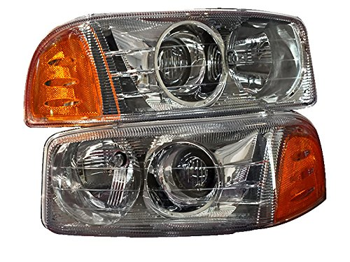 PERDE Chrome Housing Halogen Headlights Projector With Performance Lens Compatible with GMC Sierra 1500 Classic Yukon XL Includes Left Driver and Right Passenger Side Headlamps