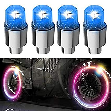 4 LED Wheel Tyre Tire Valve Dust Cap Light Green For Bike Bicycle Motorcycle Car